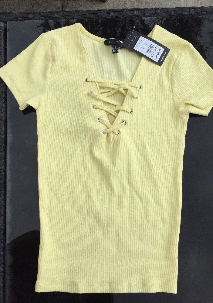 83f875f815e Lace Up Ribbed T Shirt Size 6  fashion  clothing  shoes  accessories   womensclothing  tops (ebay link)