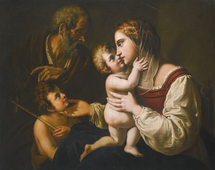 Follower of Antiveduto Gramatica HOLY FAMILY WITH THE INFANT SAINT JOHN oil on canvas 105.4 by 130.8 cm.; 41 1/4  by 51 1/2  in: