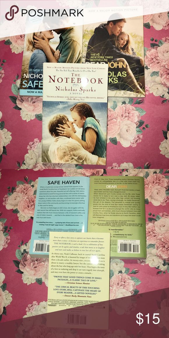Nicholas Sparks Book Lot 3 Books No tears, folds, or markings.   The Notebook Safe Haven Dear John Other