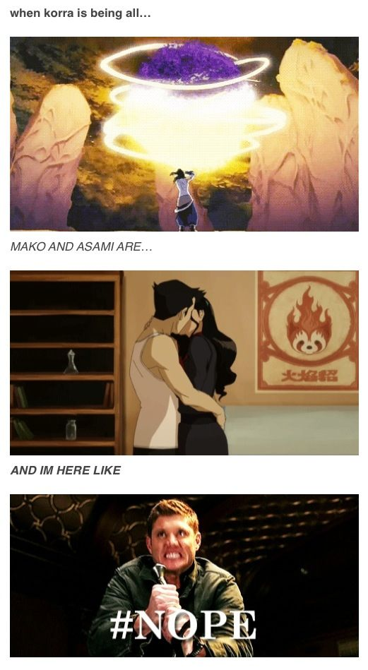 The love triangle thing is pissing me off. He leaves Asami because he 'loves' Korra then he breaks up with Korra because he couldn't handle her (true she gets pretty jerky when she's stressed out but she had reason to be stressed I felt) and then inside a week he's back with Asami?! I see no way to fix this now without it seeming forced and campy. I'm so over Makorra now. She can do better.