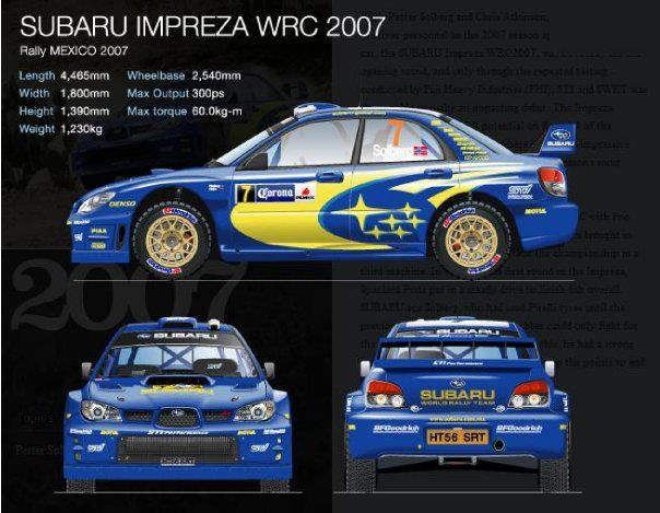2007 Subaru Impreza WRC rally car