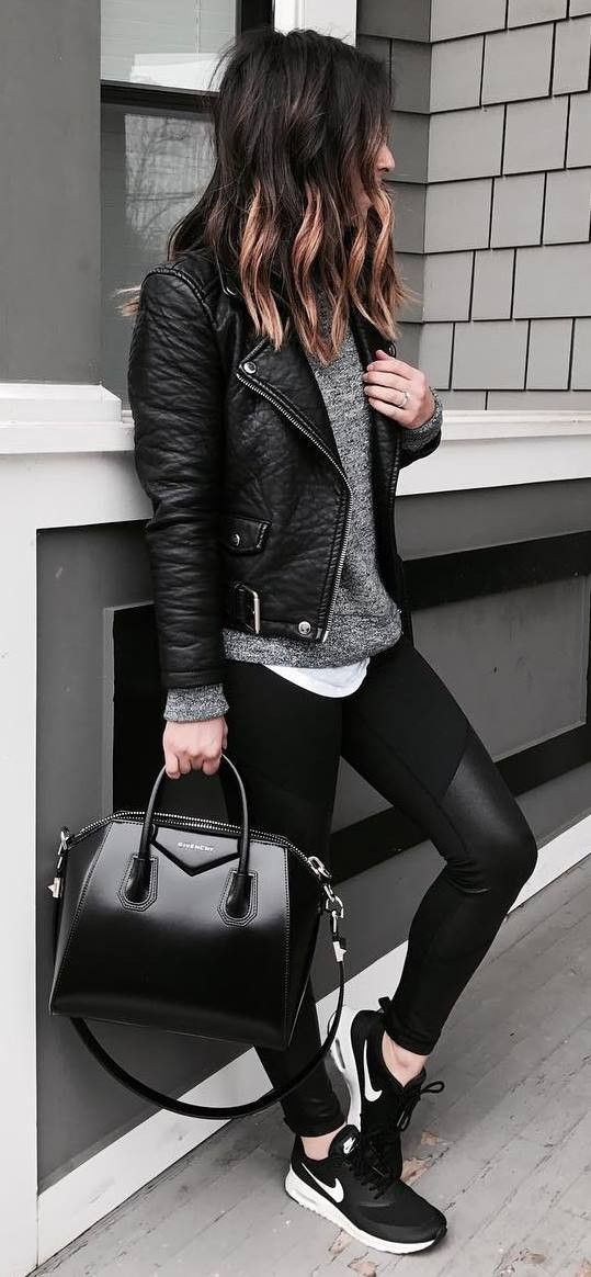 street style addiction / leather jacket + top + bag + leggings + sneakers