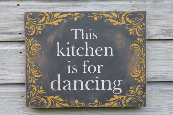 Kitchen Sign Kitchen Decor Grey Yellow Wall Art by TheHeartwood
