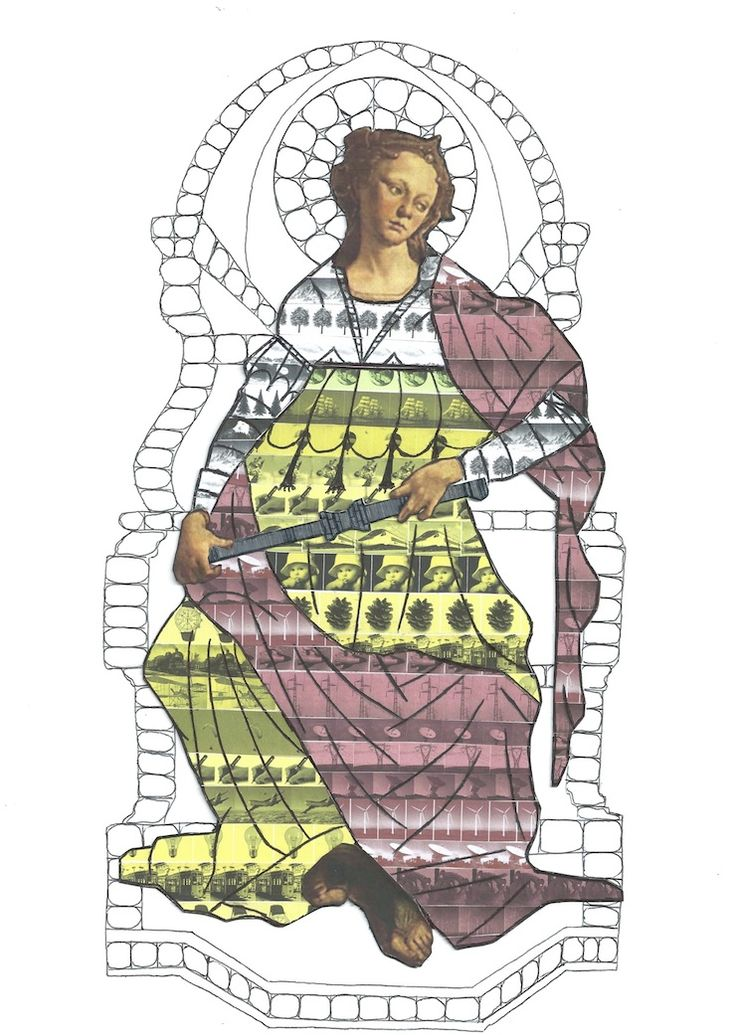 ENERGÉIA GIOSUÈ CERESATO Collage, biro su cartoncino, 21x29,7, 2014 L'Energia prende qui la forma di una Virtù, la Fortezza di Botticelli, per esprimere il suo essere punto di partenza e disposizione d'animo che punta verso il bene comune. Ricca e piene di risorse, ricamate sul suo prezioso vestito/corazza, senza la presenza dell'Uomo non è capace di trasformare l'essere in potenza da quello in atto.