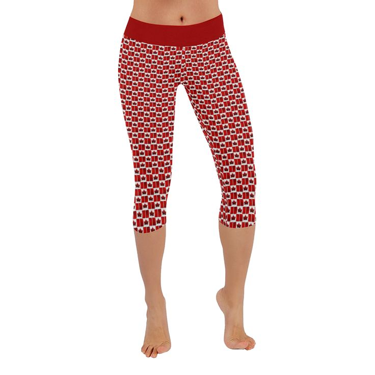 Cute Canada Flag Capri Pants Canada Souvenir Low Rise Capri Leggings for Women