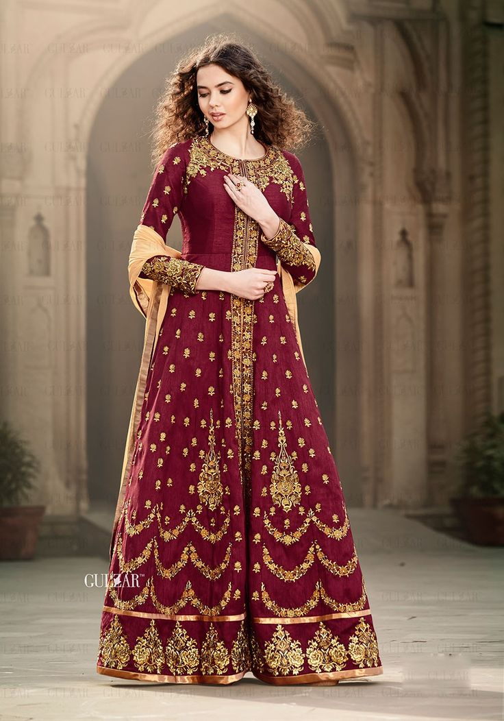 Maroon latest Indian abaya anarkali suit in Banglori silk E16001