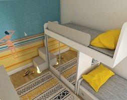 White, grey and yellow attic room for girls. Bunk bed with wardrobe. Pokój dla dziewczynek w białym, szarym i żółtym kolorze. Łóżko piętrowe z szafą z serii Color Dream Meble firmy Colorato. www.colorato.pl