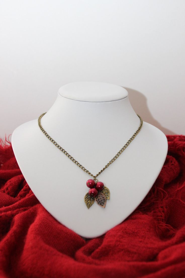 Bronze Garden Collection; Cherry Cluster Necklace- a dynamic pendant of red pearls and metal leaves by 4Dignity on Etsy