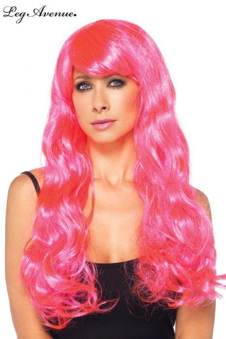 perruque rose fluo en long cheveux onduls synthtique superbe perruque longue pour changer votre style - Perruque Colore