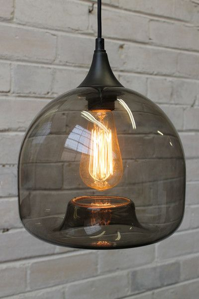 Glass Pendant Light in dark smoke finish