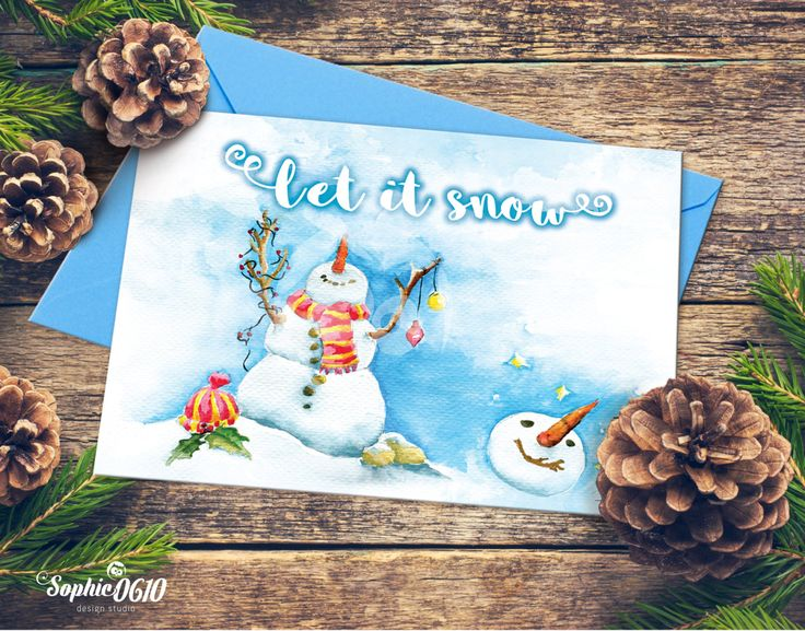 Christmas Printable Card 21cm x 15cm, Watercolor Handmade Painted, Let it snow, Instant Download, Digital Files by Sophie0610Designs on Etsy