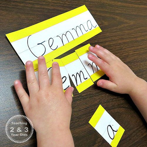Name Puzzles (Photo from Teaching 2 and 3 Year Olds)