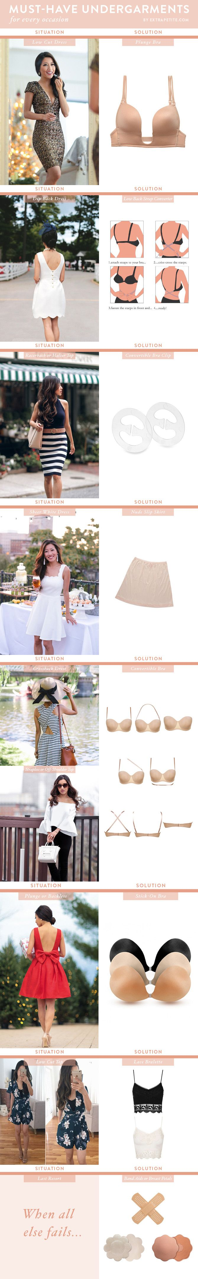 Must-have undergarments for every type of outfit! The right bra for backless dresses, plunging low cut necklines, sheer clothing, and more (click image to read!)