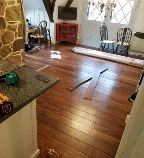 Diy Rustic Wide Plank Plywood Flooring In 2020 Plywood Flooring Flooring Wide Plank Flooring