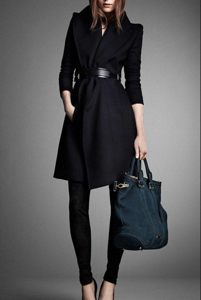 schwarzer eleganter mantel damen