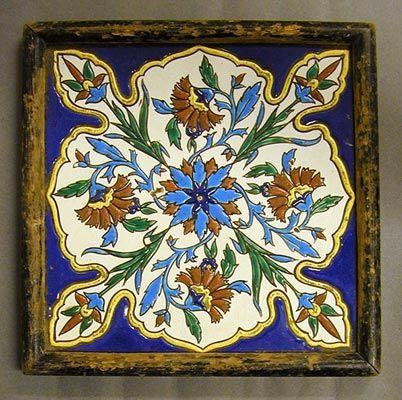 Montereau et Fils, Cuerda Seca dust-pressed tile, Persian style design. circa 1875