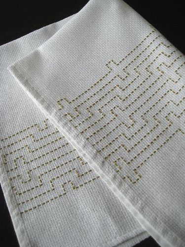 'Sashiko' --- one of the Japanese traditional stitch techniques on kitchen cloth