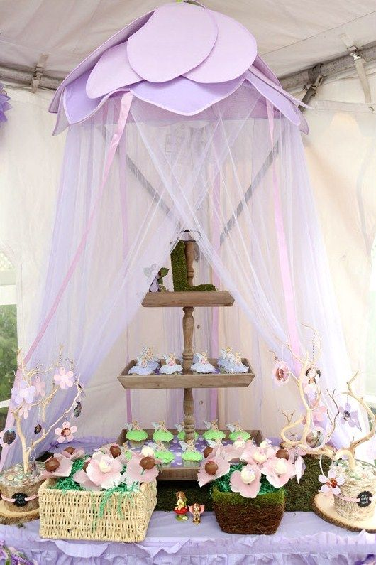 Candy Bar con dosel de tul lila para fiesta de hadas!