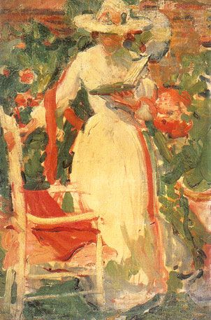 Woman Reading in the Garden ca. 1920 by Unknown