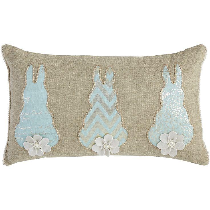 Nautral Bunny Tails Lumbar Pillow Easter Decor