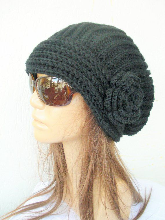 5195d2db806 Slouchy Hat Winter Hat Knit Hat Slouchy Beanie Gift for her Knit Beanie  Black Hat Women Hat Oversized Hat Chunky Knit