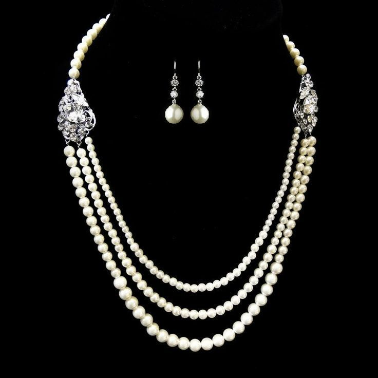 Three Row Pearl Wedding Necklace and Earring Set, - Affordable Elegance Bridal -