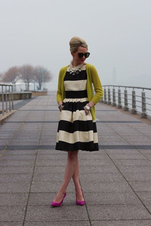 Striped fit and flare dress with pockets