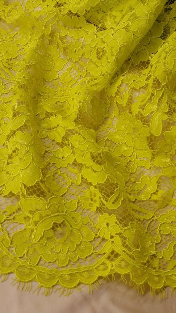 Yellow green lace fabric by the yard, France Lace Embroidery lace Wedding Lace Bridal lace White Lace Veil lace Lingerie Lace Alencon Lace