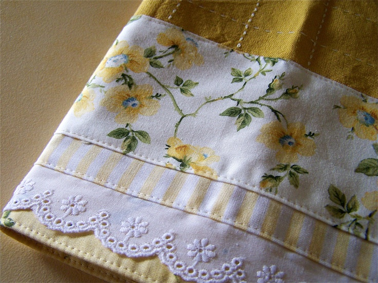 """""""Golden Roses"""" decorated Tea Towel, Dish Towel.By Cath via Etsy."""