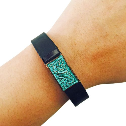 Charm to Accessorize the Vivosmart, Fitbit Flex, Xiaomi Mi and Jawbone Up - The PAISLEY Small Engraved Charm in Copper Patina to Dress Up Your Favorite Fitness Tracker by Funktional Wearables