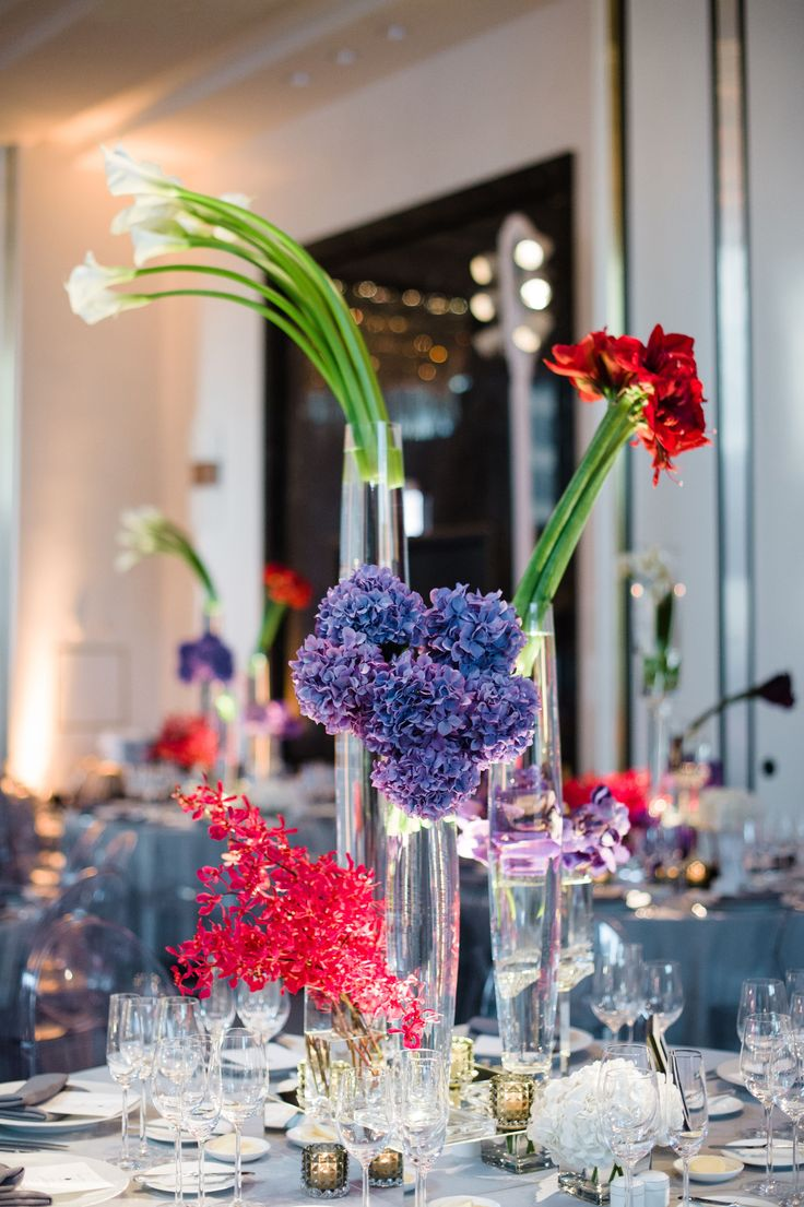 Tall Modern Calla Lily and Hydrangea Centerpieces
