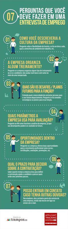 Infográfico: 7 perguntas que você deve fazer em uma entrevista de emprego.