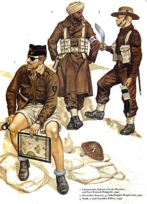 BRITISH ARMY - 1) Lieutnant, Infanterie de Marine, Free French Brigade, 1942 - 2) Stretcher- Bearer, 4/16 Punjab Regiment, 1942 - 3) Naik, 1/2nd Gurkha Rifles, 1942