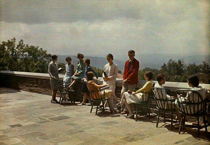 College students relaxing in the sun, 1928.