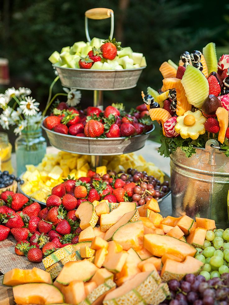 Fresh fruit wedding reception appetizer station