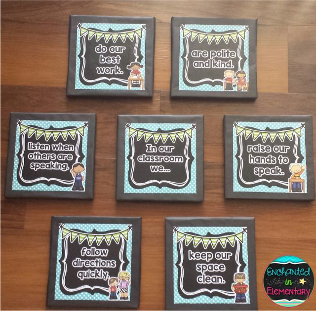 Enchanted in Elementary: Classroom rules on canvas to create a 3D display that will pop on a bulletin board