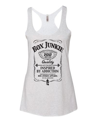 High quality Tri Blend racerback, loose fitting and low cut.  Solid White tee color with black ink is a classic workout shirt.  The design is classic like the shirt itself (Box Junkie).