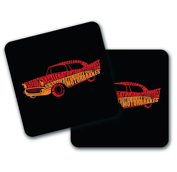 Classic Car Typographic Coasters Set of 4 by LookNFindLtd on Etsy