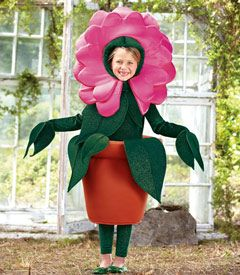 flower pot costume - this web site has awesome cute costumes (most not at all scary!)