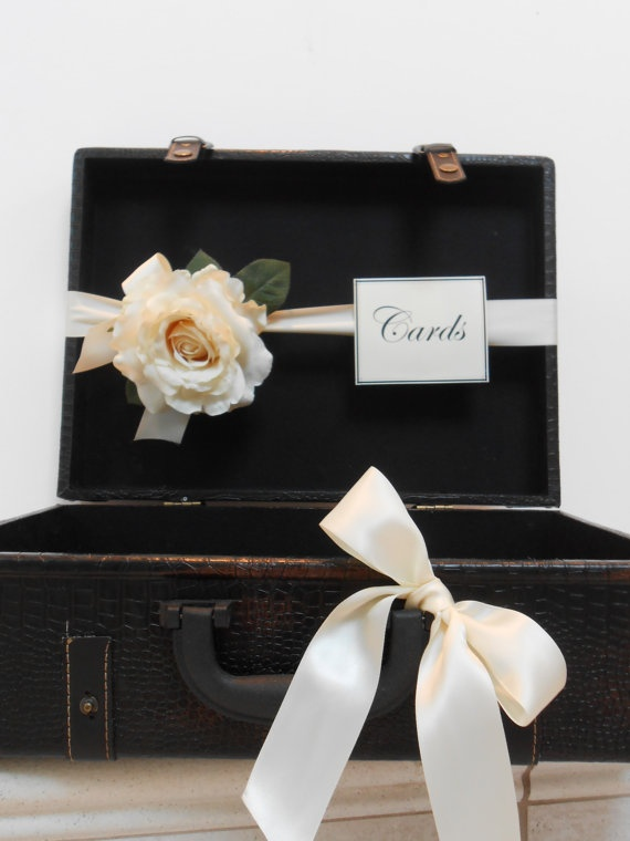 Suitcase Wedding Card Holder / Suitcase Card Box by YesMoreFunk