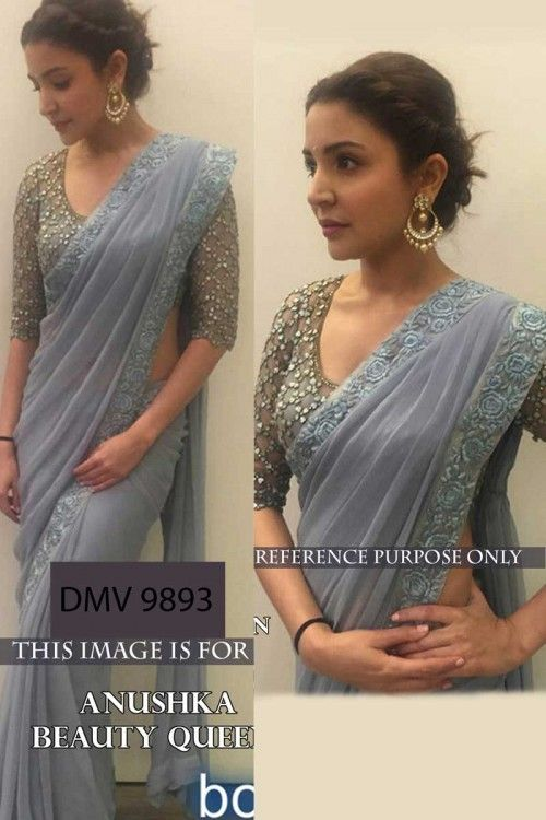 Saree order online, Anushka Sharma Grey faux georgette sarees,  u neck blouse now in shop. Andaaz Fashion brings latest designer ethnic wear collection in UK    http://www.andaazfashion.co.uk/bollywood-sarees-online/anushka-sharma-grey-faux-georgette-saree-with-raw-silk-blouse-dmv9893.html