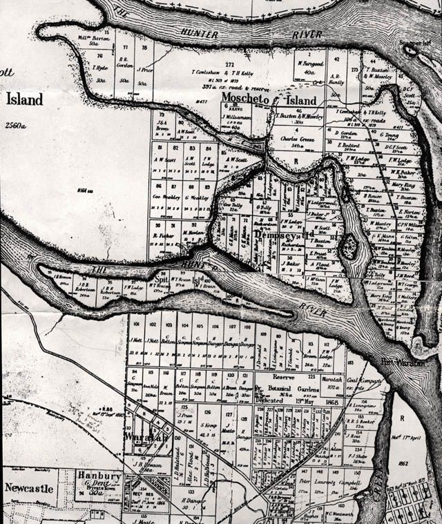1890s map of Mayfield showing the river up to Tourle Street where Shelley Beach was and Ash Island before BHP filled in the waterway