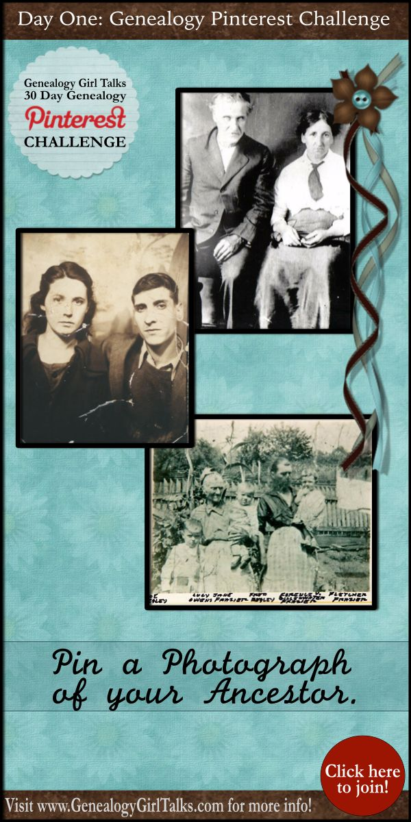 Genealogy Girl Talks 30 Day Pinterest Challenge! Check it out at www.GenealogyGirlTalks.com