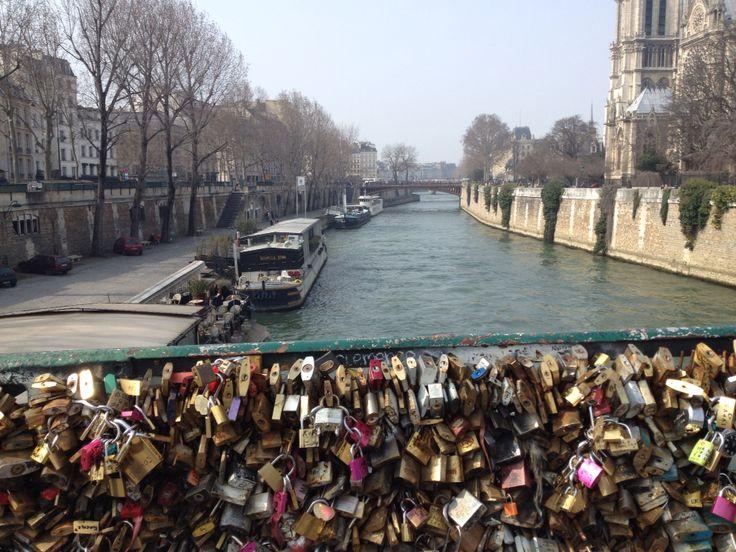 The love lock bridge on La Seine
