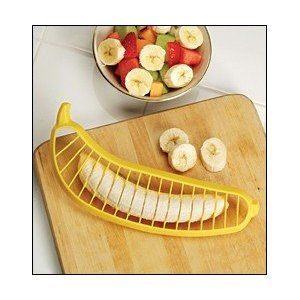 Victorio Kitchen Products 571B Banana Slicer    The reviews are HILARIOUS!  Nice idea