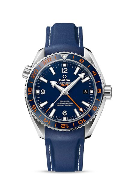 SEAMASTER-PLANET OCEAN 600 M OMEGA CO-AXIAL GMT 43.5 MM.Steel on rubber strap.