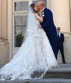 Alexandra Lucy Edwards wearing a Naeem Khan wedding dress