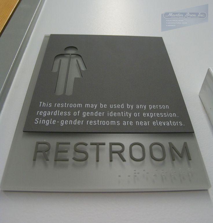 ADA Compliant Transgender Restroom Sign | Reed College Performing Arts Building | Martin Bros. Inc.