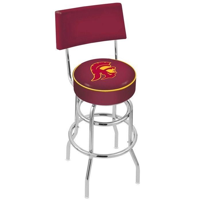 USC Trojans D1 Chrome Retro Bar Stool with Back - SportsFansPlus