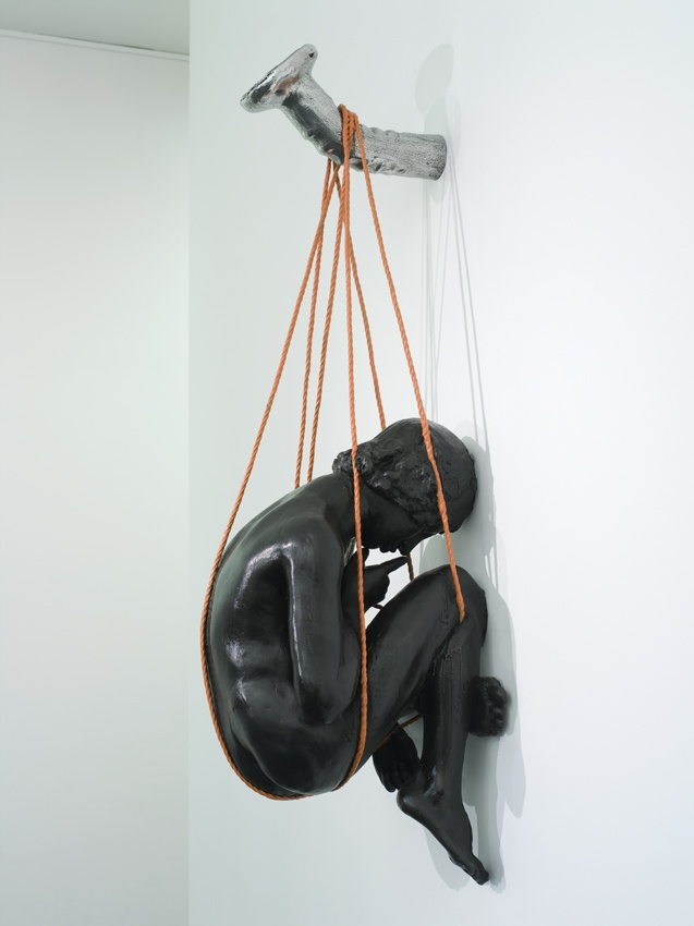 thomas lerooy - figure - sculpture - hanging on wall from a nail